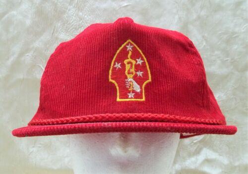 The 2nd Marine Division Red Corduroy Hat Adjustable Cap Camp Lejeune NC USMC