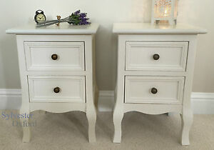 Set of Two Small 2 Drawer BEDSIDE TABLE cabinets in IVORY shabby / chic