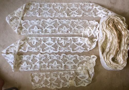 """33 yds x 5"""" Antique Hand Made Needle Lace Early 20thC MIN. 3 YARD PURCHASE -1042"""