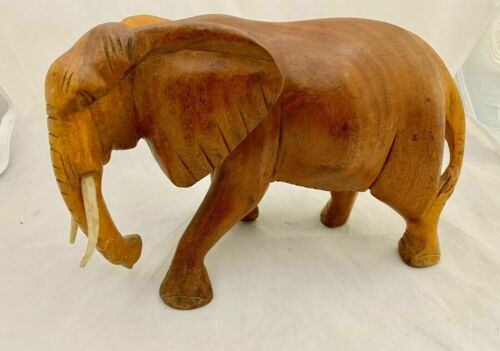 Wooden Hand Carved Elephant Statue Figurine Sculpture Wood Home