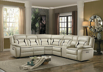 WILLEN Sofa Sectional Beige Faux Leather Power Reclining Living Room Couch Set