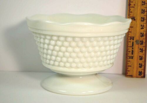"""Milk Glass candy dish hobnail unmarked pedestal 3"""" tall  Free Shipping"""