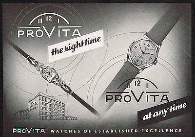 1950's Vintage 1955 Provita Watch Co. - Paper Print AD
