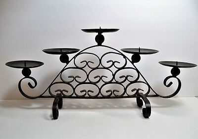 Wrought Iron Tuscany Dark Brown/Bronze Tabletop  Candle Holder Centerpiece Large (Dark Brown Wrought Iron)