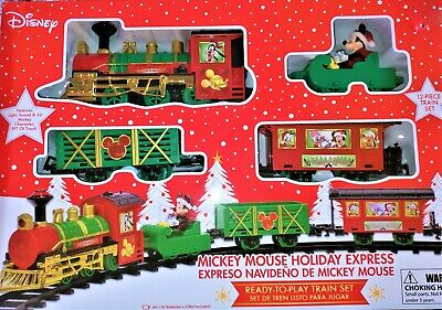 *NEW* Disney Mickey Mouse Holiday 12 PC Christmas Train Set w/ Lights & Sound