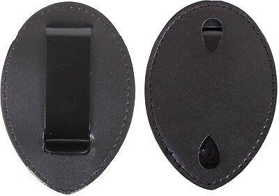 Black Leather Clip On Law Enforcement Badge Holder