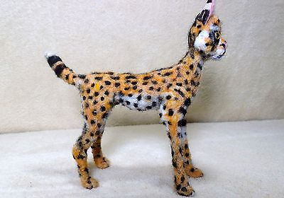 OOAK needle felted artist handcraft / handmade cat serval wildlife