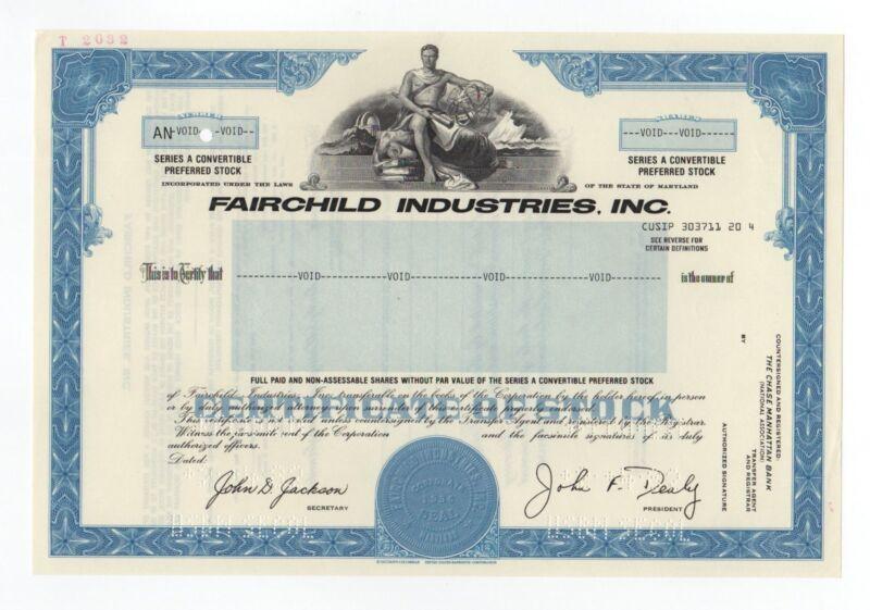 SPECIMEN - Fairchild Industries, Inc. Stock Certificate