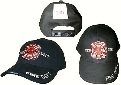 Navy Blue Fire Fighter F-D Department Fighters Emblem Embroidered Hat Cap (RUF) ()