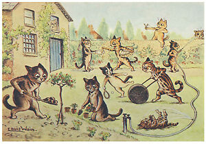 Kittens in the garden louis Wain A5 glossy Photo Print