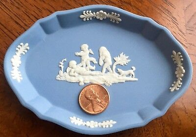 Wedgwood Jasperware Blue Oval Trinket Dish Ring Tray Children at Play Dog - Ring Oval Dish