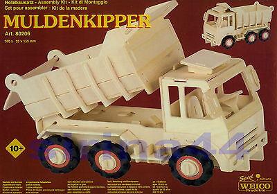 "3D-Puzzle Holzbausatz ""Muldenkipper"" - LKW-Kipper 26 x 35 x 15,5 cm ab 10 Jahre"