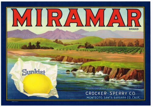 ORIGINAL LEMON CRATE LABEL SANTA BARBARA MIRAMAR VINTAGE SURF VINTAGE 1930S SEA