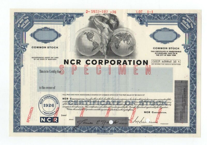 SPECIMEN - NCR Corporation Stock Certificate