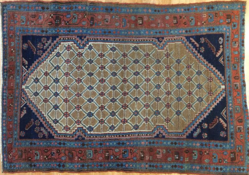 Amazing Azerbaijani - 1900s Antique Kurdish Rug - Tribal Camel Hair - 4 X 5.9 Ft