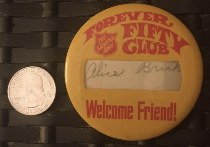 Rare Salvation Army Forever Fifty Club Pin Button Alice Brick Pin HTF Pin