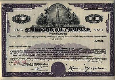 $10,000 Standard Oil Company Bond Stock Certificate