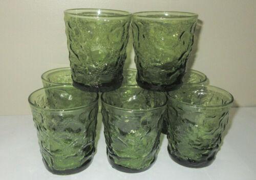 "Vtg Anchor Hocking 8 Lido Milano Rocks Juice Glasses Avocado Green MCM 3.5"" Tall"