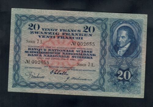 SWITZERLAND 20  FRANKEN 1935   PICK # 39e  VF+.