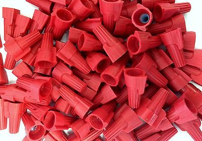 100 Pc Red Winged Screw On Nut Wire Connectors Twist On Bag Lot Awg 8-18