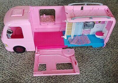 Barbie Dream Camper Motor Home pink 2014 mattel expanding kids toy