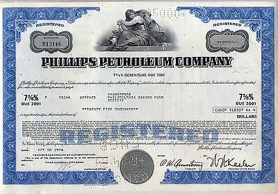 Phillips Petroleum Company Stock Bond Certificate Oil Gas Blue