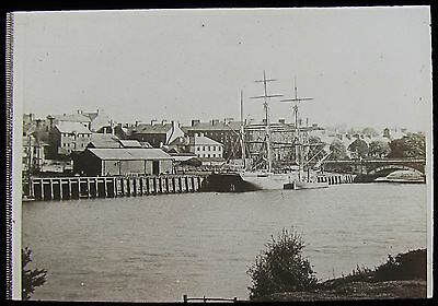 Glass Magic Lantern Slide RIGGED SHIP IN UNIDENTIFIED HARBOUR C1890 PHOTO