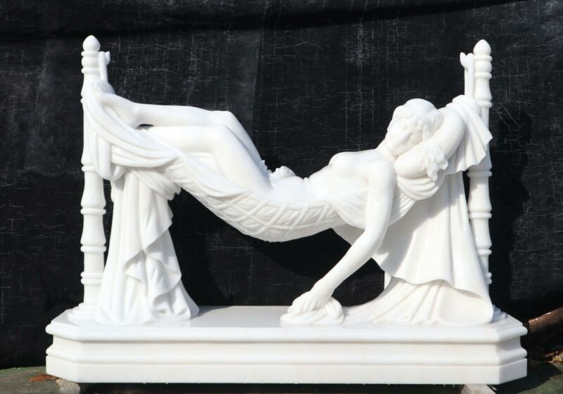 BEAUTIFUL CARVED MARBLE LAYING DOWN EUROPEAN STYLE GODDESS - JD68
