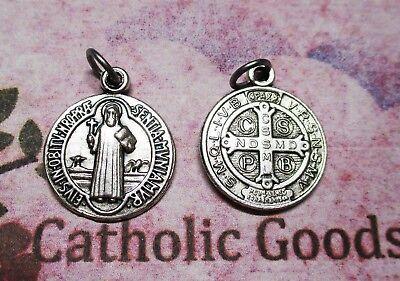 Medalla de San Benito - Oxidado Tono Plateado 2.2cm Redondo