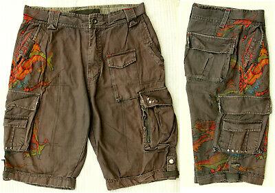 Sommer Hose, Shorts, Bermuda, grau braun mit Drachen Motiv, Baumwolle, Größe M