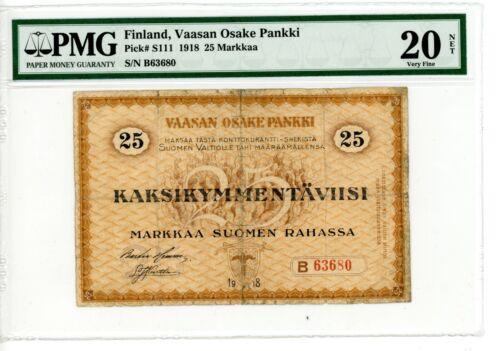 Finland ... P-S111 ... 25 Markkaa ... 1918 ... *VF* ... PMG 20 NET
