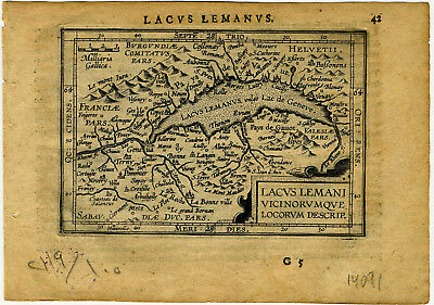 1609 Genuine Antique miniature map Switzerland, Lake Geneva. by A. Ortelius