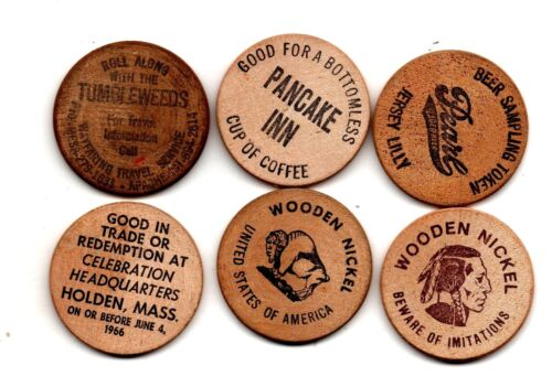 6 WOODEN NICKELS VERY DIFFERENT