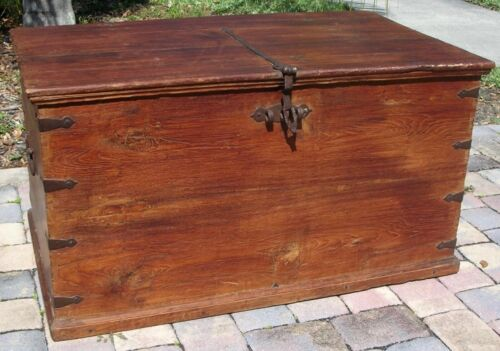 Large Antique Primitive Immigrant Travel Trunk Chest Hand Forged Colonial c1700s