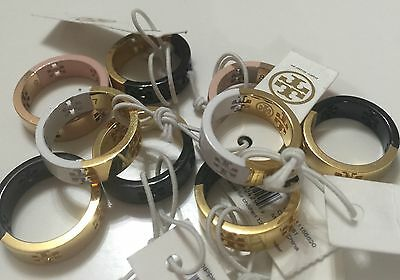 NWT Tory Burch Dipped Pierced Rings Pink, Black, or White Gold  $88.