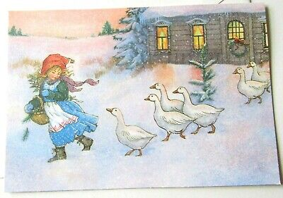 Vintage Christmas Card Old Fashioned Girl Leading Ducks in Snowy Scene by House ()