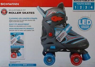 Flashing Roller Skates (Schwinn Adjustable Fit Roller Skates Flashing LED Straps ~ Youth 1/2/3/4)