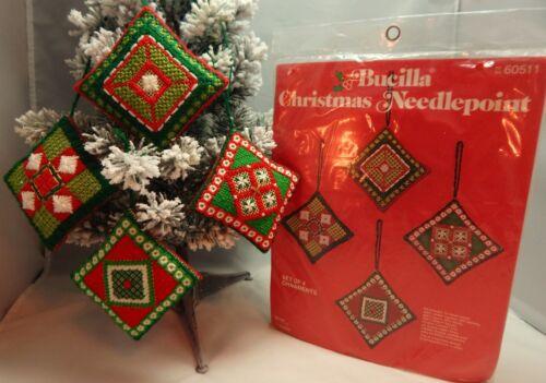 Vintage Bucilla CHRISTMAS NEEDLEPOINT ORNAMENTS Kit #60511- Set of 4 - Sealed