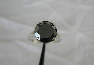 4Ct Natural Black Diamond Ring Certificate Engagement Wedding Size 7 5 Solitaire