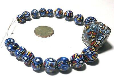 19 RARE Antique Venetian African Glass Trade Beads