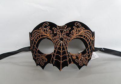 Black & Orange Glitter Spider Web Halloween Mask * NEW * Express Post  - Halloween Express Masquerade Masks