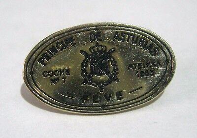 Great silver tone push pin badge Principe de Asturias Feve Coat of arms