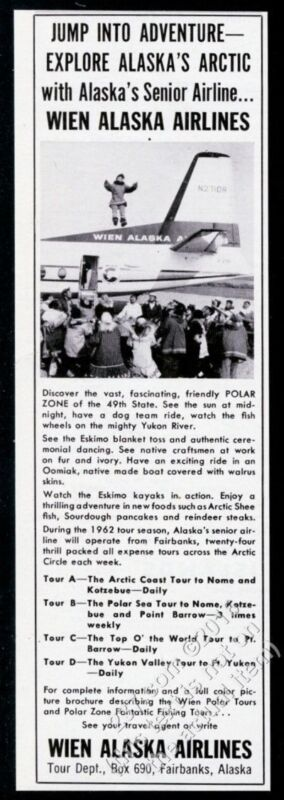 1962 Wien Alaska Airlines plane photo vintage print ad