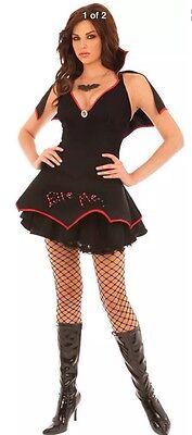 BITE ME Vampire Teeth Bat Woman Wing Collar Light Up LED Cape Necklace Dress M