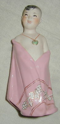VINTAGE CHINESE PORCELAIN FIGURINE, SMILING BOY w PINK ROBE, HEART NECKLACE