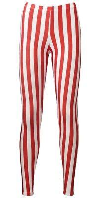Rot & Weiß Vertikale Streifen Zuckerstange Bedruckte Leggings - Rote Leggings Halloween Kostüm