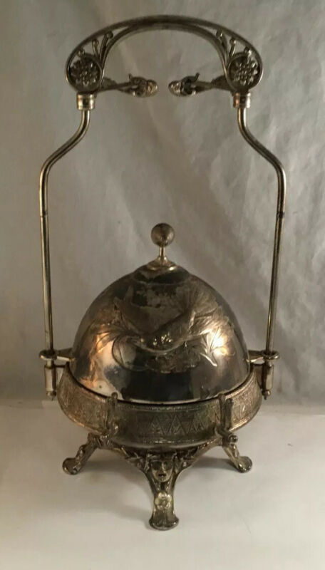 ANTIQUE VICTORIAN SILVERPLATE BIRD DECORATED COVERED BUTTER DISH AESTHETIC MVMT