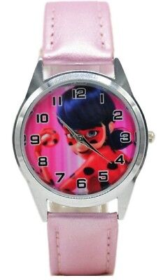 (Miraculous Ladybug Cosplay Pink Leather Band WRIST WATCH)