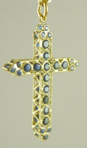 Natural Sapphire OR Choose Ruby 18K Gold Cross Pendant