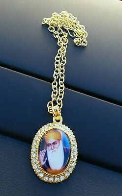 Gold Plated Punjabi Singh Sikh Guru Nanak Pendant Chain Car Rear Mirror Hanging